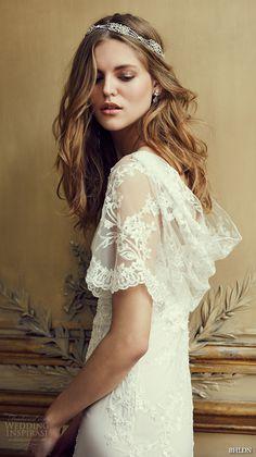 bhldn spring 2016 flutter sleeves illusion jewel semi sweetheart neckline fully embellished sheath column lace wedding dress cowl back marchesa (estella) -- BHLDN Spring 2016 Collection | Wedding Inspirasi #wedding #weddings #bridal #weddingdress #bride ~
