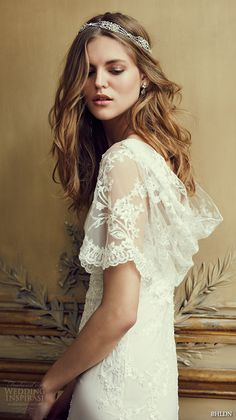 bhldn spring 2016 flutter sleeves illusion jewel semi sweetheart neckline fully embellished sheath column lace wedding dress cowl back marchesa (estella)