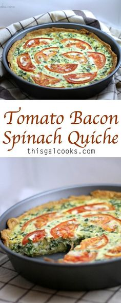 A simple recipe that can be enjoyed for breakfast, lunch or dinner. Definitely for the bacon and tomato lovers! Simple Quiche Recipes, Healthy Quiche Recipes, Simple Recipes For Dinner, Spinach Recipes, Kiesh Recipes, Bacon Recipes Lunch, Brunch Recipes, Dinner Recipes, Cooking Recipes