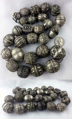 Collection of 27 Antique silver beads; includes beads from Morocco, Yemen… Ethnic Jewelry, Beaded Jewelry, Indian Jewelry, Silver Jewelry, Leather Jewelry, Fine Jewelry, Silver Rings, Or Antique, Antique Silver
