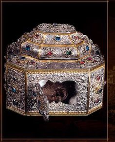 Relic of the skull of St. John Chrysostom (died ca. 407.) His left ear remains incorrupt (not decaying.) Witnesses say the Apostle Paul appeared and spoke into St. John's ear ear as he wrote Athos commentaries on St. Paul's epistles.