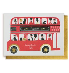 A Routemaster bus full of London's most favourite characters. The designer has used silkscreen printing, collage and painting, to create an image full of colour, texture and shapes. London Illustration, Gravure Illustration, Illustration Art, Bus Drawing, Drawing Art, Lagom Design, Red Bus, Thinking Day, London Art