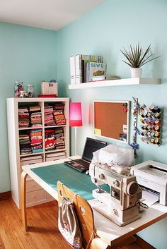 Sewing nook, sewing table, my sewing room, sewing spaces, sewing st Sewing Room Design, Sewing Spaces, My Sewing Room, Sewing Rooms, Small Sewing Space, Small Craft Rooms, Craft Space, Space Crafts, Sewing Table