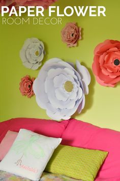 DIY Paper Flower Room Decor - Mad in Crafts