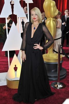 Margot Robbie in Saint Laurent and Van Cleef & Arpels on the Oscars 2015 Red Carpet. [Photo by Donato Sardella]