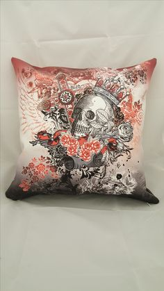 Faux Leather Skull Flowers Sofa Cushion pillow cover 16x16 (Insert is not included) Cusom print available~!