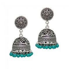 Girls Jewelry, Jewelry Art, Silver Jewelry, Fashion Jewelry, Gold Jewellery, Gold Earrings Designs, Oxidised Jewellery, Jewelry Patterns, Turquoise Beads