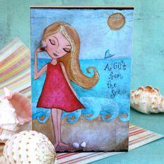 Childrens Art Beach Decor  Girl Wall Art Wood Shelf Block Art Mixed Media 4 x 6