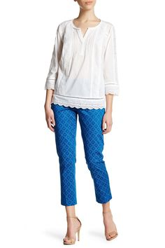 Corynna Print Stretch Sateen Slim Ankle Pant (Petite)