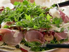 Slice up the meat in thin stripes instead of just laying it on top. Warm Mushroom Salad recipe from Ina Garten via Food Network