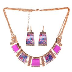 Amazon.com: HONEYJOY Women Ethnic Chain Choker Vintage Rhinestone Neon Bib Statement Necklace(purple): Clothing