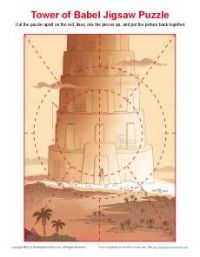 Children's Bible Jigsaw Puzzle Activity - Tower of Babel