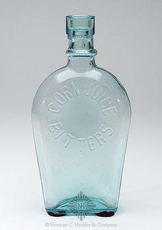 Corn Juice -  Bitters -  Flask, America, 1870-1890. Coffin shaped form, aquamarine, - .jpg