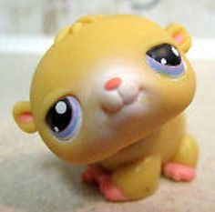 LPS#0054 HAMSTER Yellow fur, pink nose, ears and paws, purple/blue eyes