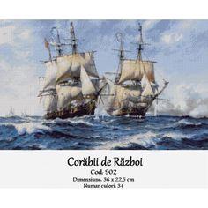 Corabii de razboi Navy Military, Cross Stitch Kits, Sailing Ships, Image, Romania, Boats, Embroidery, Ships, Boat