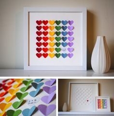 """3D hearts guestbook ... love this idea. """"Easily extrapolated to 60 guests, this 3D hearts frame is a functional alternative to the traditional guestbook. Guest may sign their names in the hearts that surround your both initials to form a single picture that will stay with you on the wall or resting on a shelf."""""""