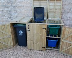 Wooden bin & recycling box combination store for 2 bins & 2 boxes Storage Room Organization, Diy Kitchen Storage, Storage Bins, Storage Ideas, Recycling Bin Storage, Garage Velo, Bin Shed, Garbage Can Storage, Girls Bedroom Storage