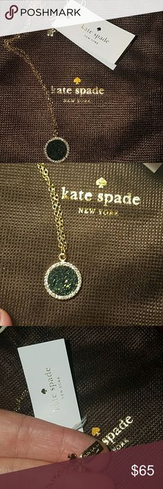 """NWT KATE SPADE All that glitters Nwt.. flawless condition, tags still attached. Mystic green with rhinestone accents & gold necklace. Approx 11"""" drop. Comes with pouch. 100% authentic.   I do not trade.. Price is firm as it is brand new kate spade Jewelry Necklaces"""