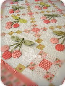 cherry quilt, dimensional applique quilt