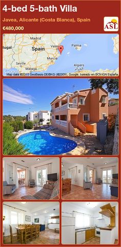 Villa for Sale in Javea, Alicante (Costa Blanca), Spain with 4 bedrooms, 5 bathrooms - A Spanish Life Murcia, Alicante Spain, Bbq Area, Terrace, Villa, Mansions, Bathroom, House Styles, Bed
