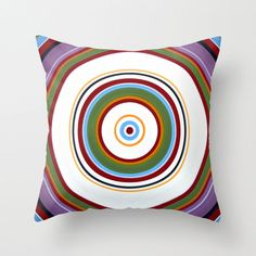 "Decorative abstract throw pillow cover ... from my original modern abstract painting, ""Halo Effect 6"" ... 16"" x 16"""