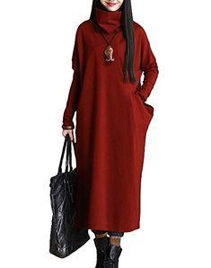 Minibee Women's Long Sleeve Turtleneck Outwear Cloth with Big Pocket Red Minibee http://www.amazon.com/dp/B0141VKNQY/ref=cm_sw_r_pi_dp_Y2cnwb0GPQ6H9