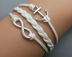 Plating Retro Silver Small Anchor & Infinity Wish Bracelet White Ropes Braided Personalized Charm Jewelry Friendship Gift 1186r Retro Bracelet. $13.50