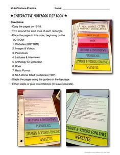 MLA format - flip book for works cited citations https://www.teacherspayteachers.com/Product/MLA-Citations-Instructions-Practice-Examples-1698100