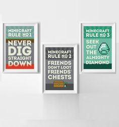 MineCraft Rules Poster Set Buy Three and Save! Instant Downloadable PDFs on Etsy, $30.00