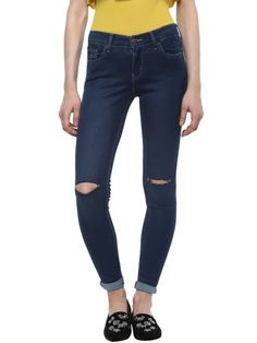 Knee Cut Denim Ankle Length Skinny Jeans Skinny Fit Jeans, Ankle Length, Black Jeans, Denim, Pants, Fashion, Moda, Trousers, Tapered Jeans