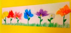Oodles of Art: 1st Grade  fun class mural-- Have each child make a flower with thumb print leaves