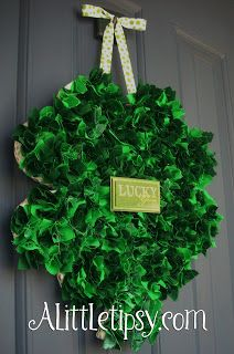 Fabric Scrap St. Patrick's Day Shamrock Wreath