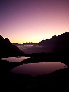 Sunrise at Rifugio Locatelli - near Auronzo, Dolomites, Italy.