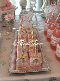 Fancy Rice Krispie treats at a 1st Communion Party!  See more party ideas at CatchMyParty.com!