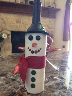 Wine bottle snowman duck tape