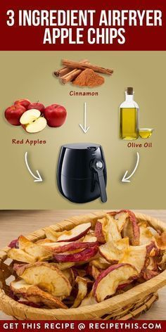 Welcome to our three ingredient air fryer apple chips.If you're looking for a simple snack then look no further than our three ingredient air fryer apple chips. Air Fryer Oven Recipes, Air Frier Recipes, Air Fryer Dinner Recipes, Air Fryer Recipes Potatoes, Cooks Air Fryer, Air Fried Food, Apple Chips, Air Fryer Healthy, Vegan