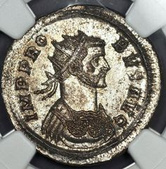 Look at photos. Marcus Aurelius Probus (276-282). Probus riding horse; To left, bound captive seated left. Probus was Roman Emperor from 276 to 282. Silvered Aurelianianus. NGC MS. This is the most rare specimen from this particular mint.   eBay!