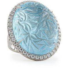 Rina Limor Large Oval Bouquet Carved Blue Topaz & Diamond Ring - Blue (6.5)