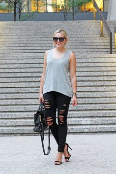 Express destroyed jean leggings are the perfect companion for a night out on the town. @bowsandsequins