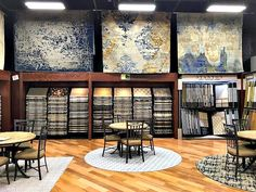 Our beautiful showroom with some area rugs we carry. Also we have many rugs for wall to wall carpet needs. Our showroom is like no other because any rug we have can be made into a wall-to-wall layout, an area rug, or a runner. You have so many options to chose from! You can complete any interior design with any of the amazing rugs we carry!