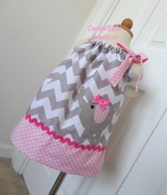 Adorable Elephant Chevron Pillowcase Dress by CookieBellaCreations, $27.00