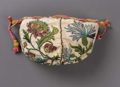 1700-1725, France - Round drawstring bag - Glass, beadwork; sablé