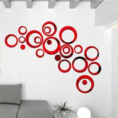 AlrensTMRed 22pcs Rounds Dots Circles Mirror Surface Acylic Crystal Wall Stickers DIY 3D Home Decal Living Room Murals Wallpaper Decor Art adesivo de parede Decoration Removable -- Find out more about the great product at the image link.