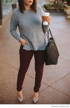 burgundy-pants-and-a-grey-blouse