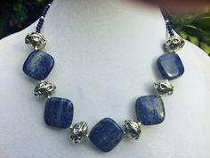 Lapis Lazuli Necklace, Chunky Stone Necklaces, Chunky Bead Necklace, Stone Statement Necklace, Blue Gemstone Necklace, Blue Bead Necklace