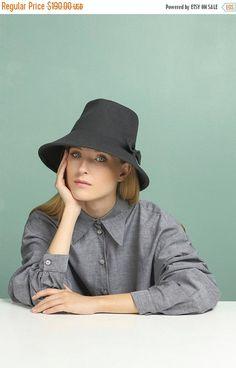ON SALE Fedora Felt Hat for Women  Gray Felt Hat  by JustineHats