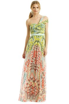 Super fun color scheme, and like the flowy-ness of it. Maybe not one-shouldered, but the sweetheart neckline is great.