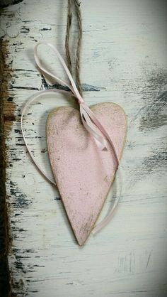 Pink and gold hanging heart decoration shabby chic by LiziLoves, £1.50