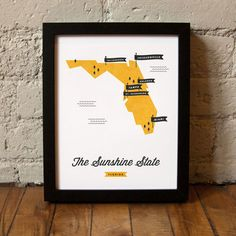Love this series of state maps by These Are Things. Want some to give and some to keep, like this one of Florida, where we currently live. #print #florida #WallArt