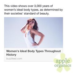 Women's Ideal Body Types Throughout History: A diverse cast of models show how the standard of beauty for women has changed dramatically over time. Watch video here: http://evpo.st/1Bxol2k. But one thing has remained constant...healthy, beautiful skin! #AnAppleADay #OrganicSkincare #AllNatural #Vegan #CrueltyFree #Beauty #SkinCare #SmallBatch #GreenBeauty #ecoSkincare #ShopSmall #GreenvilleSC #yeahTHATgreenville #HaveABeautifulDay #BeautifulSkinStartsHere #AppleOrganics